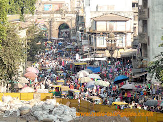 Busy Ahmedabad market by Three Arch Gate near Bhadra Fort, Ahmedabad, India.