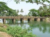 Bridge over the river near Hirapur village in India.