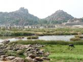 Tungabhadra River bridge remains near Hampi, India.