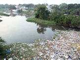 The highly polluted Musi River, Hyderabad, India