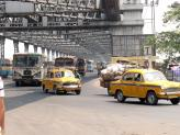 Howrah Bridge taxis, Kolkata, India.