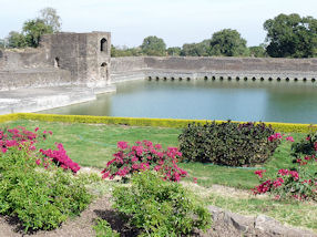 The beautiful gardens at the Jahaz Mahal, Mandu, India