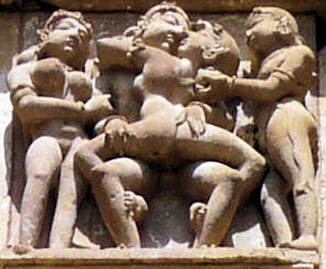 Beautiful sculptures on Khajuraho's temples in India.